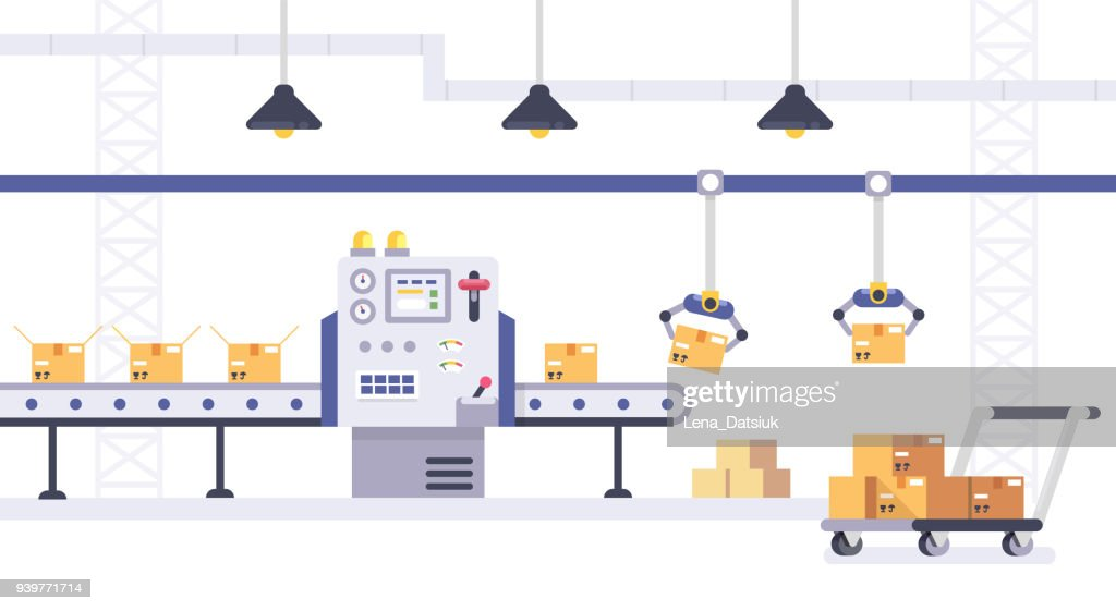 Packing and Production line concept in flat style. Industrial machine vector illustration. Cardboard Boxes on conveyor belt in factory.