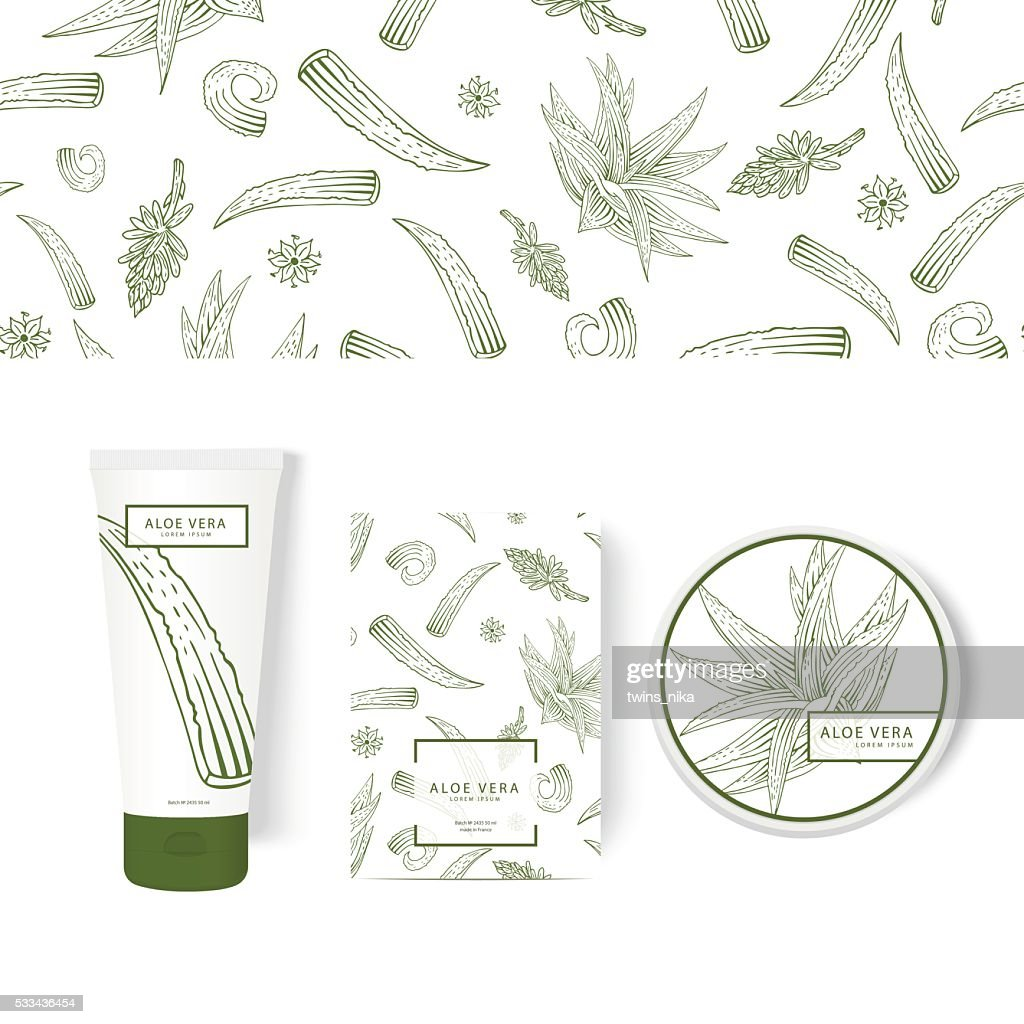 Packing concept with aloe vera. Labels for the tube, box.