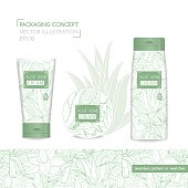 Packing concept with aloe vera. Vector Illustration