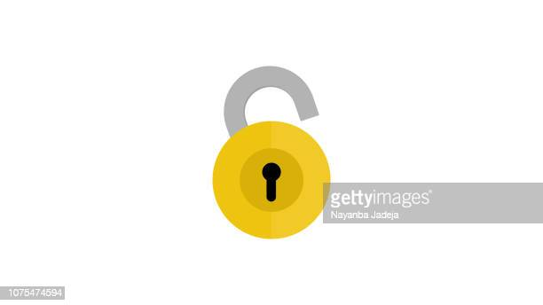 pad lock rounded icon - lock stock illustrations