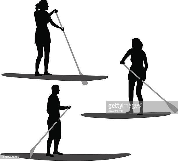 paddle boarding silhouettes - aquatic sport stock illustrations