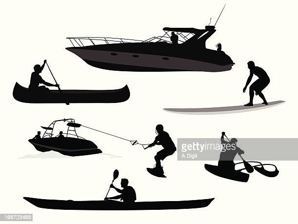 paddles'n waves vector silhouette - motorboating stock illustrations, clip art, cartoons, & icons