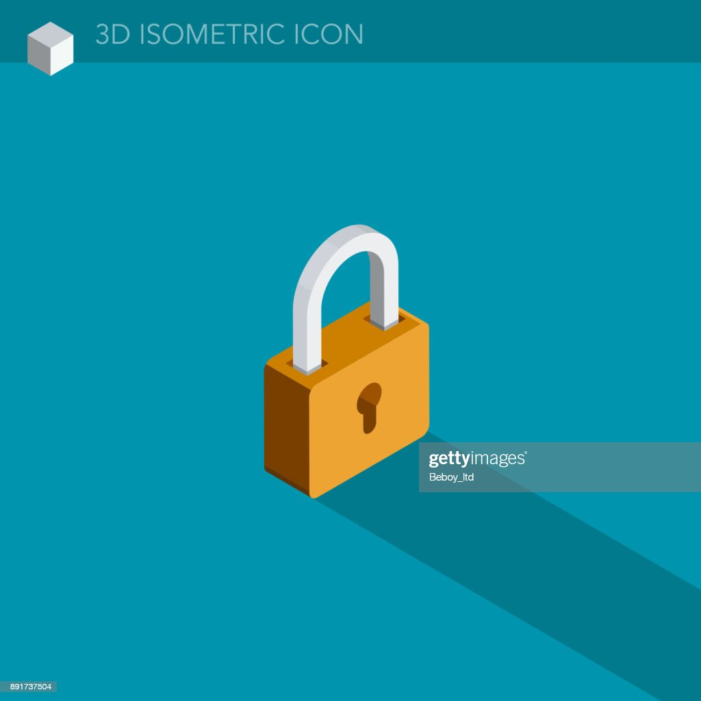 padlock 3D isometric web icon