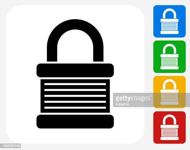 padlock icon flat graphic design - safety american football player stock illustrations, clip art, cartoons, & icons