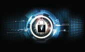 Padlock security lock concept futuristic electronic technology background, vector illustration