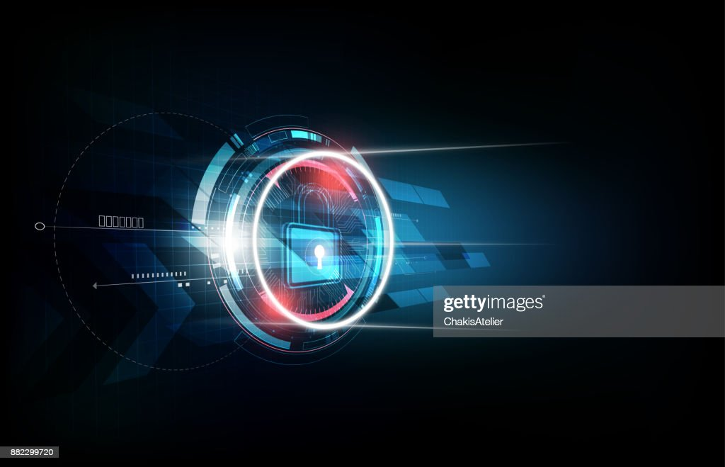 Padlock security lock concept, futuristic electronic technology background, vector illustration