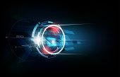 Padlock security lock concept, futuristic electronic technology background, vector illustration
