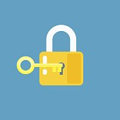 Padlock with key. Sign unlocking, access, password