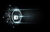Padlock with security lock hologram, futuristic technology background, vector illustration