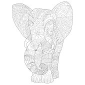 Page coloring for adults, hand drawn elephant zentangl style