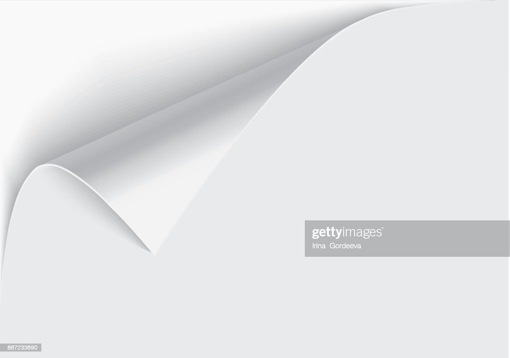 Page curl with shadow on a blank sheet of paper, design element for advertising and promotional message isolated on white background. EPS 10 vector illustration