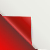 Page curl with shadow on blank sheet of paper. Vector curled corner of white paper with shadow. Close-up isolated on red background. Paper sticker, 3D illustration