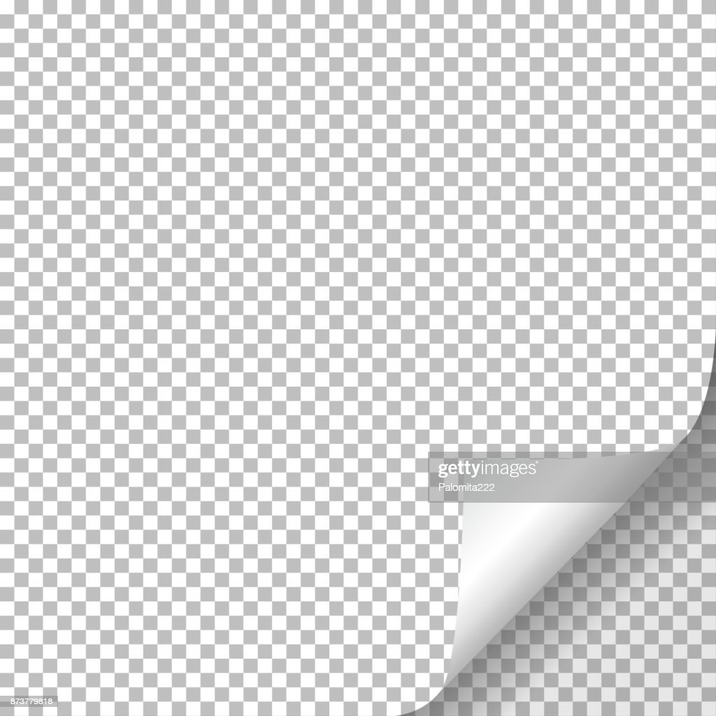 Page curl with shadow on blank sheet of paper