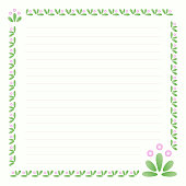 Page design for writing, festive background of beautiful flowers with pink buds, with floral ornament pastel colors and blank lines, pattern for writing