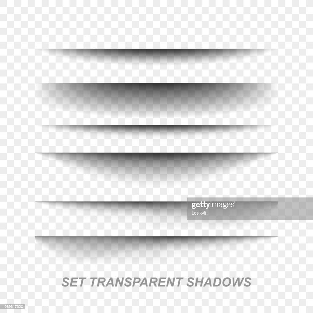 Page divider. Transparent realistic paper shadow effect set. Web banner