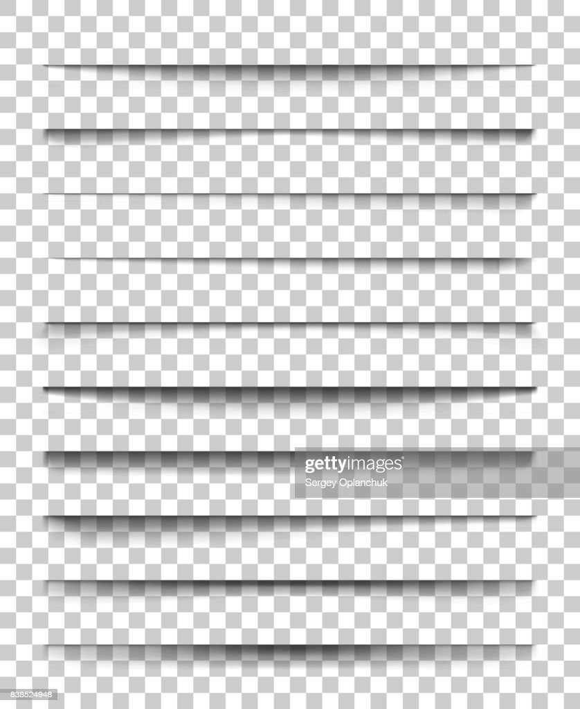 Page divider with transparent shadows. Set of pages separation vector isolated. Transparent realistic shadow for web banner and advertising. Vector illustration for your design, template and site