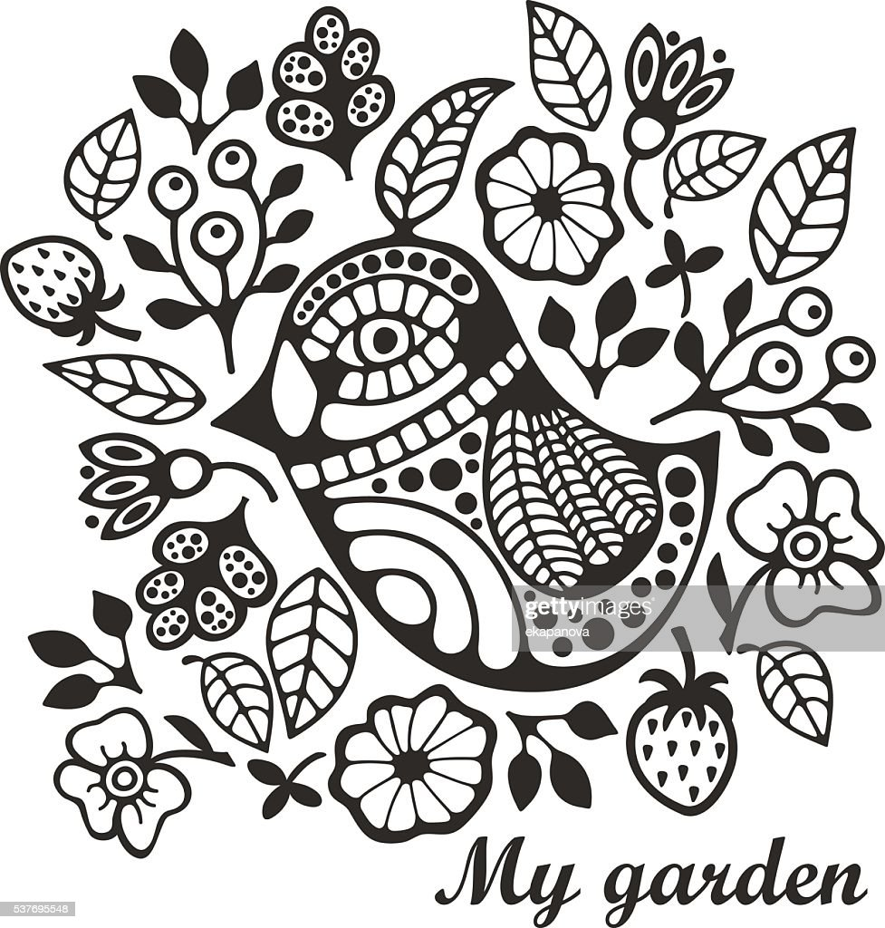 Page for coloring with bird and flowers.