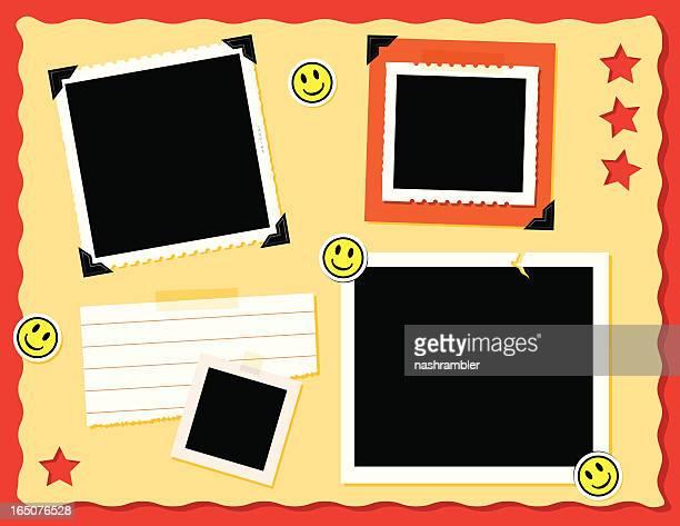 seite von sammelalbum - sammelalbum stock-grafiken, -clipart, -cartoons und -symbole