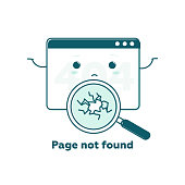 Page not found concept, 404 error web page with cute cartoon face. Flat line illustration concept for web