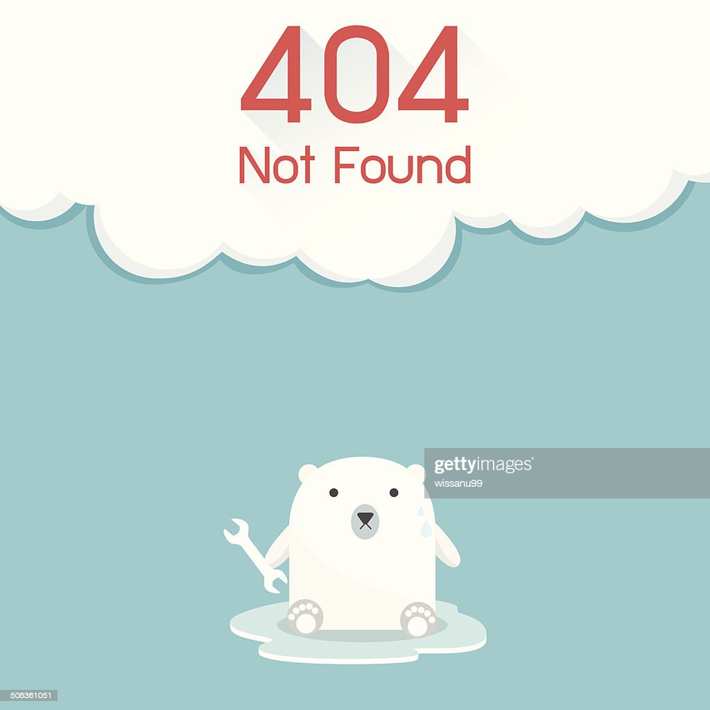 Page not found Error 404. Polar Bear Concept