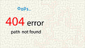 404 Page not found with labyrinth on a white background. Concept Internet webpage vector illustration of maze and 404 Page not found. Report that the page is not found.