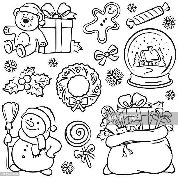 page of  christmas themed sketches - gingerbread man stock illustrations