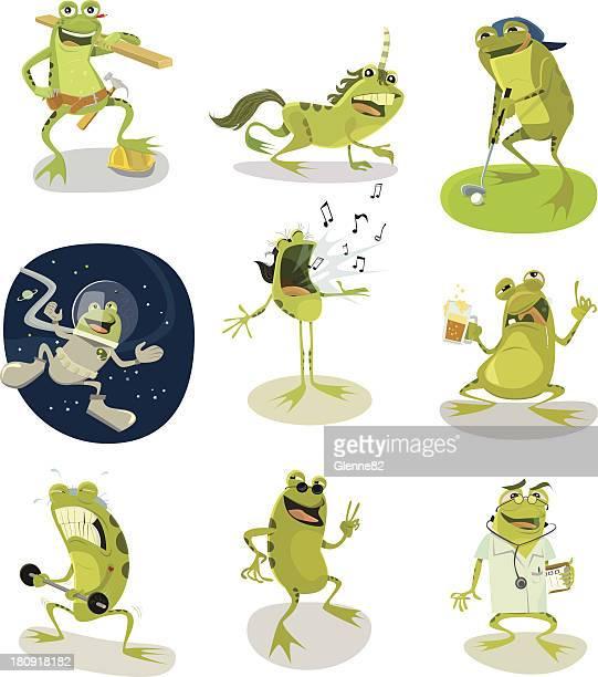 page of frog characters - frog stock illustrations