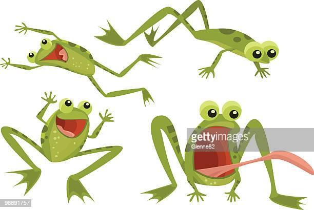 page of frogs - jumping stock illustrations
