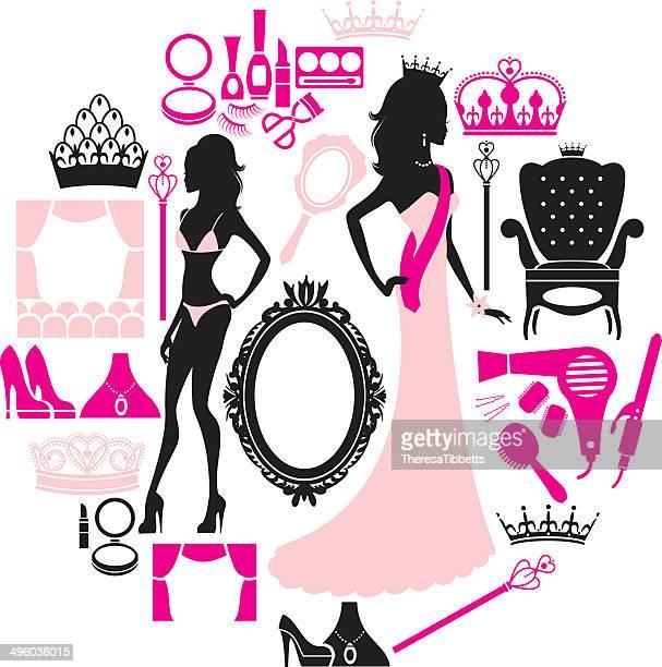 ilustraciones, imágenes clip art, dibujos animados e iconos de stock de certamen de belleza de icono - reina de belleza