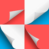 Pages curl set stylish illustration blue and red vector design