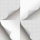 Pages curl set stylish illustration vector design