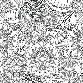 Pages for adult coloring book. Hand drawn artistic ethnic ornamental