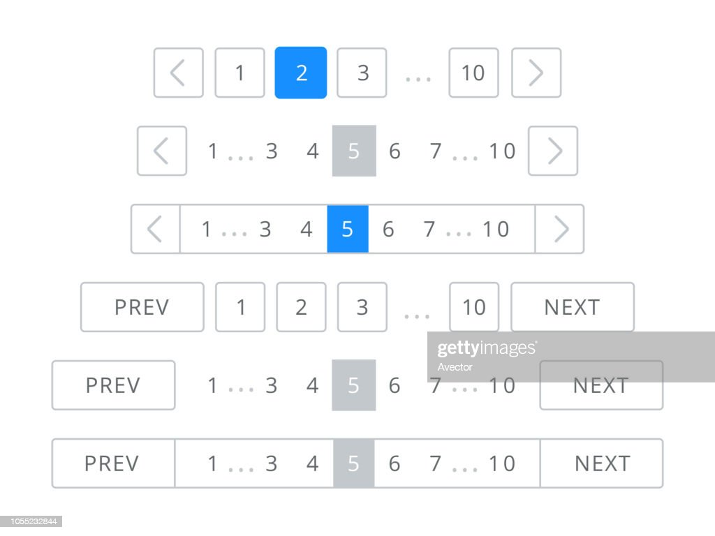 Pagination bar vector page navigation web buttons
