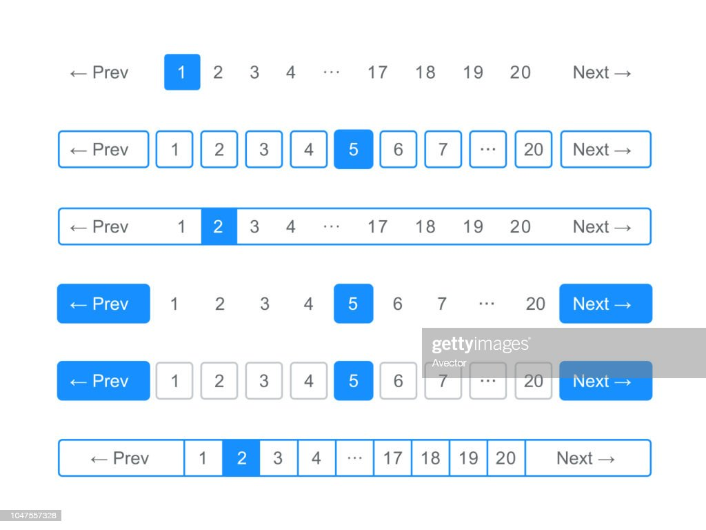 Pagination bars and web buttons vector templates for page navigation arrows and numbers interface