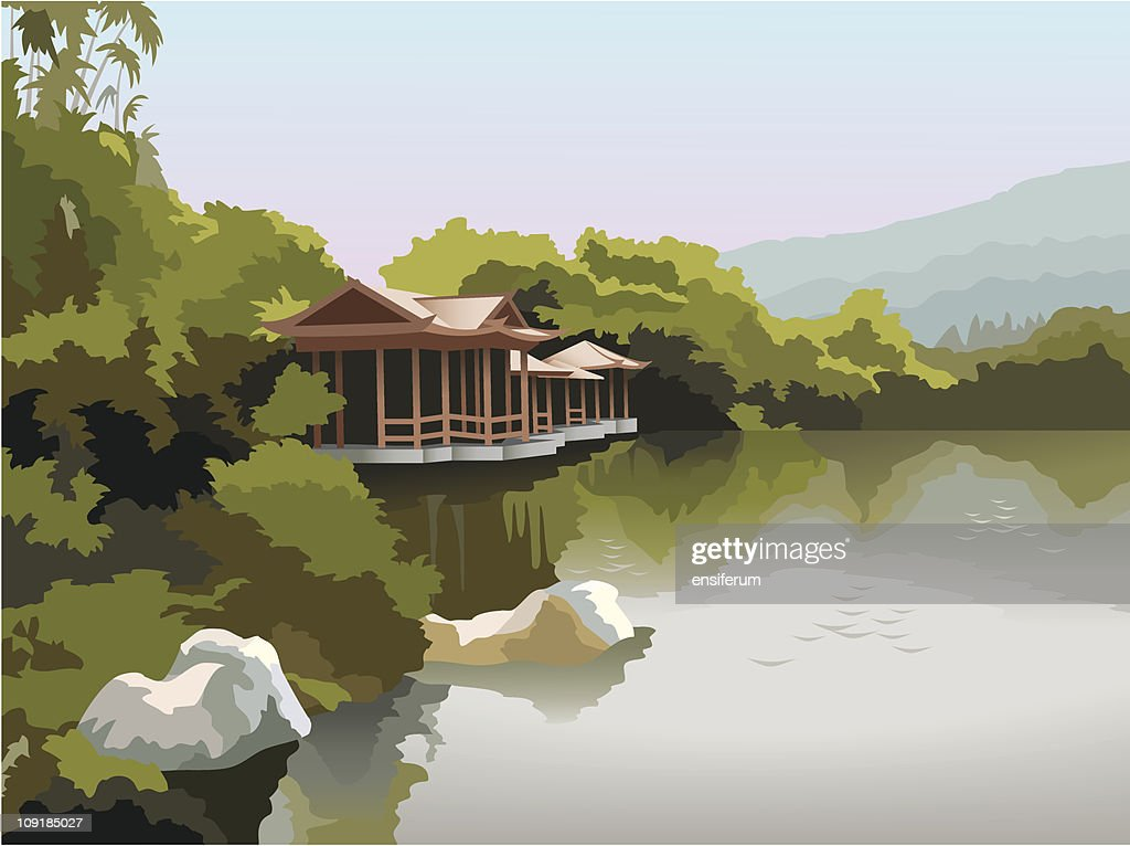 Pagoda on the lake shore