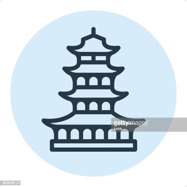 pagoda - pixel perfect single line icon - pagoda stock illustrations, clip art, cartoons, & icons