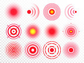 Pain circles. Red painful target spot, targeting medication remedy circle and joint pain spots isolated vector set