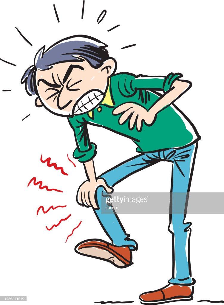 Dor no joelho. : Ilustração