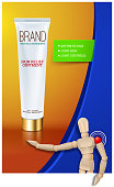 Pain relief ointment vertical banner with realistic design blank white cosmetic tube pack Of Cream Or Gel. Wooden mannequin. Vector illustration