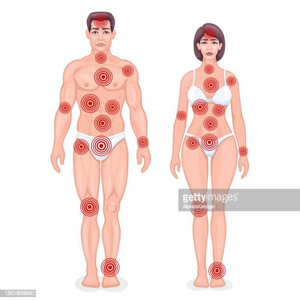 painful points infographic concept. male and female. - rheumatism stock illustrations