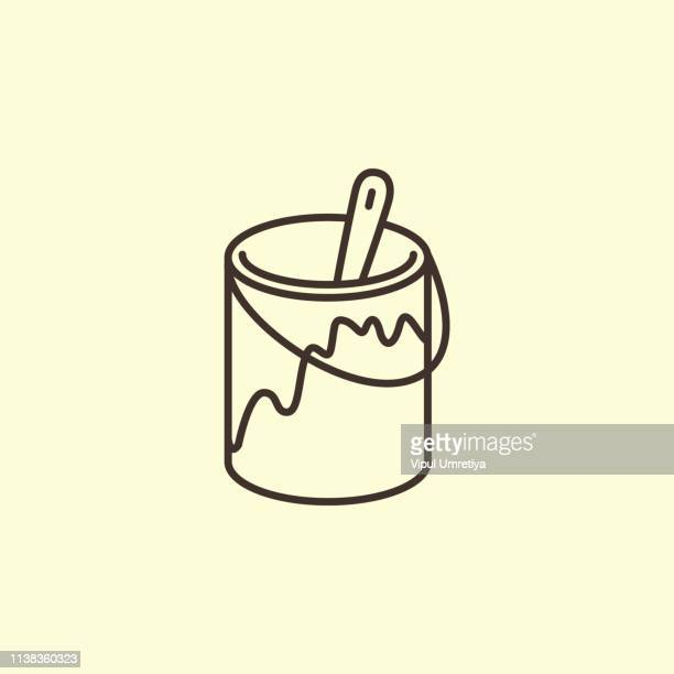paint and paint brush icon - jar stock illustrations