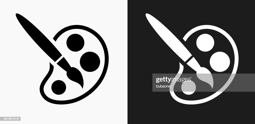 paint brush icon on black and white vector backgrounds