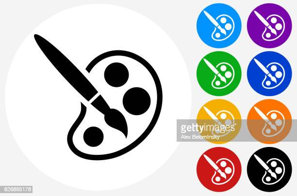 Paint Brush Icon on Flat Color Circle Buttons