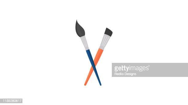 paint brush icon - tempera painting stock illustrations