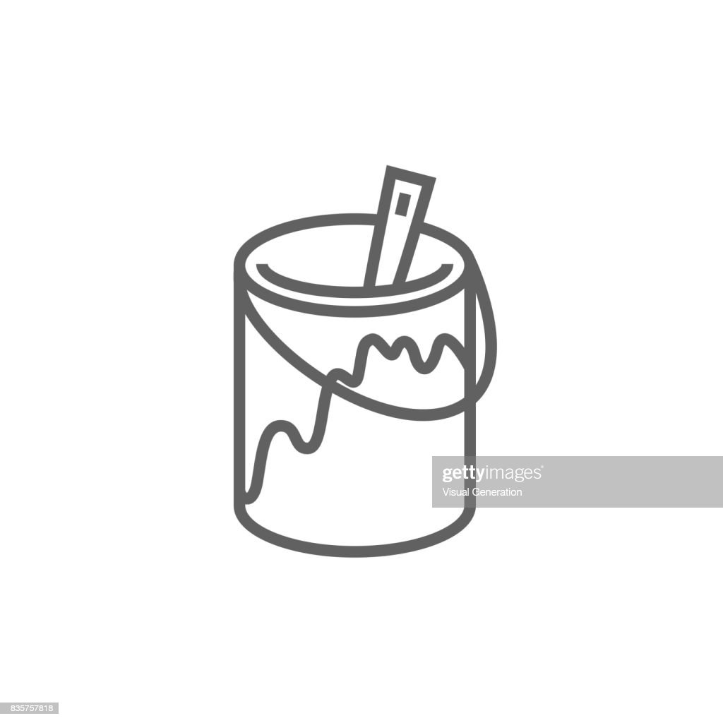 Paint brush in the paint tin line icon
