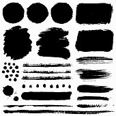 Paint brush strokes and grunge stains. Vector collection.