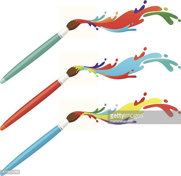 pinsel mit bunten farbspritzern - pinsel stock-grafiken, -clipart, -cartoons und -symbole