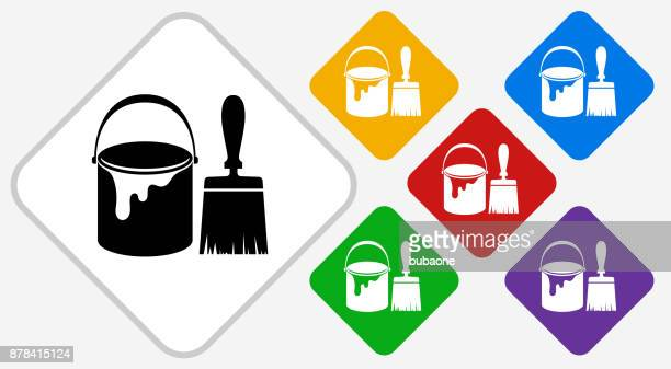 Paint Bucket and Brush Color Diamond Vector Icon