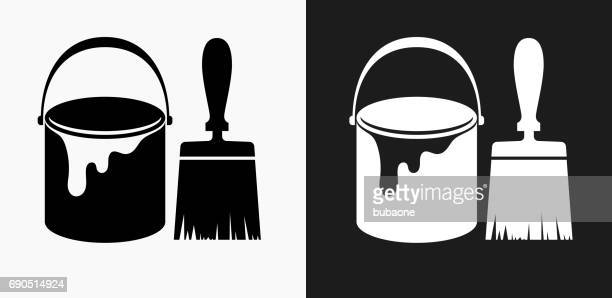 Paint Bucket and Brush Icon on Black and White Vector Backgrounds