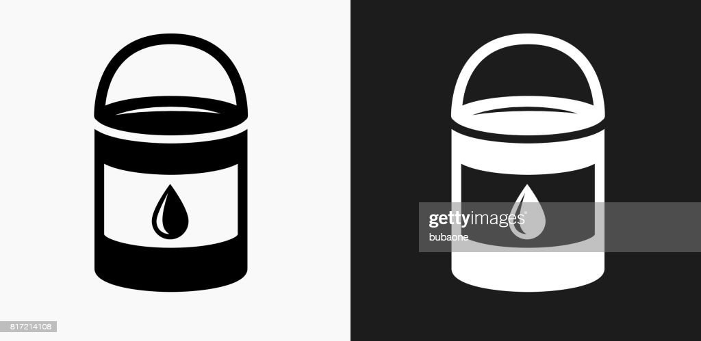 Paint Bucket Icon on Black and White Vector Backgrounds